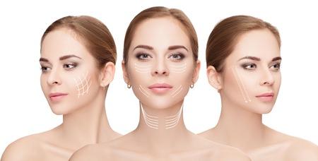 Foto de woman faces with arrows over white background. Face lifting con - Imagen libre de derechos