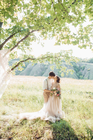 Foto de wedding couple on  nature.  bride and groom hugging at  wedding. - Imagen libre de derechos