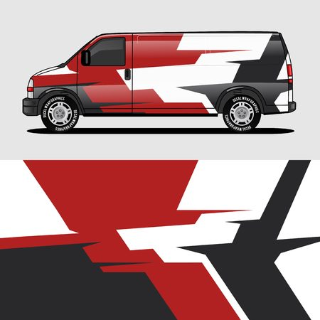Illustration for red van wrap design wrapping sticker and decal design for corporate company branding vector - Royalty Free Image