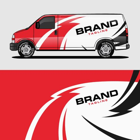 Photo pour red van wrap design wrapping sticker and decal design for corporate company branding vector - image libre de droit