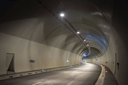 Empty highway tunnel in the evening