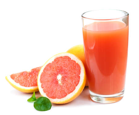 Photo for Grapefruit juice and ripe grapefruits on a white background - Royalty Free Image
