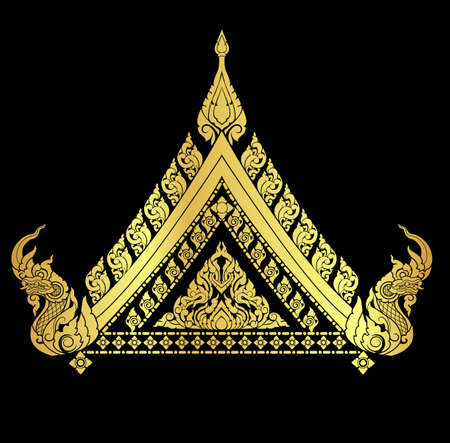 Illustration pour Thai arts interiorl with many vector patterns and gold - image libre de droit