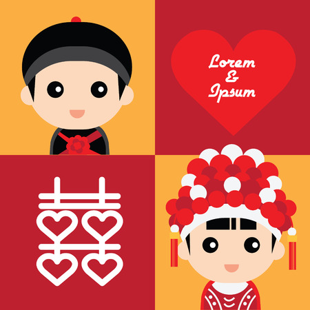 Illustrazione per Illustration of cute couple in traditional chinese wedding costume - Immagini Royalty Free