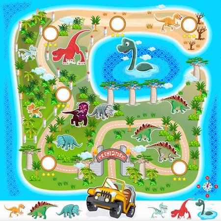 Illustration pour Prehistoric Zoo Map Collection 01 - image libre de droit