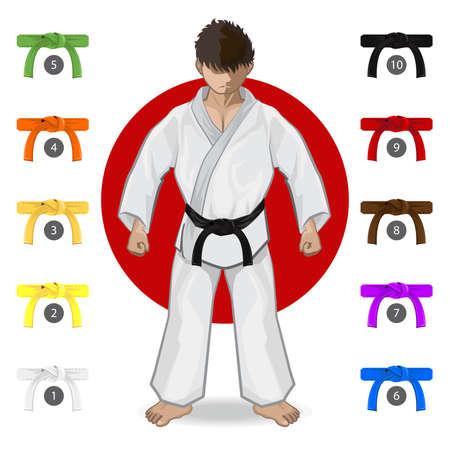 Illustration for KARATE Martial Art Belt Rank System - Royalty Free Image