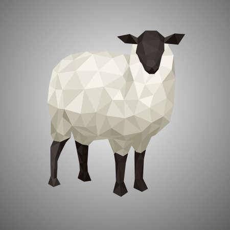 Ilustración de Low poly sheep. Vector illustration in polygonal style. Forest animal on white background. - Imagen libre de derechos