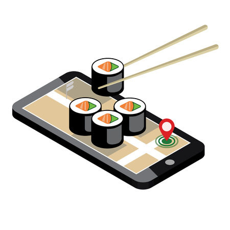 Illustration pour Isometric city. Food delivering. Sushi. Mobile searching. Geo tracking. Map.Isometric city. Food delivering. - image libre de droit