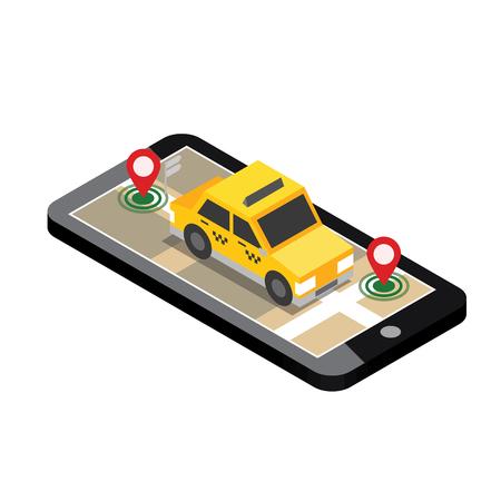 Illustration pour Isometric location. Mobile geo tracking. Map. Taxi. - image libre de droit