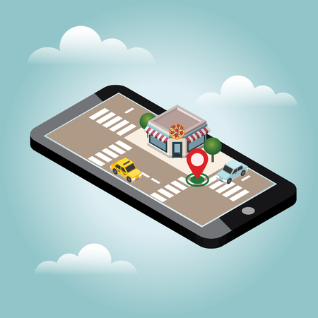 Illustration pour Isometric city. Pizzeria. Food delivering. Mobile searching. Geo tracking. Map - image libre de droit