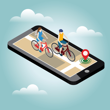 Illustrazione per Isometric location. Mobile geo tracking. Female and male cyclists riding on a bicycle. Map - Immagini Royalty Free