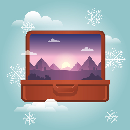 Summer vacation in winter. Planning winter holidays. Open suitcase with a mountains inside. Traveling and tourism. Vector illustation