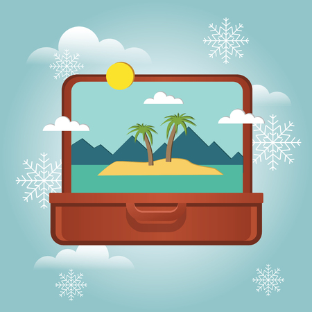Summer vacation in winter. Planning winter holidays. Open suitcase with a tropical island inside. Traveling and tourism. Vector illustation