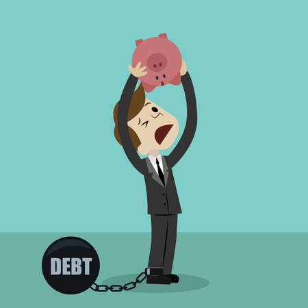 Illustration pour Businessman or manager is shaking out empty piggy bank because he has debt. Loosing investment and - image libre de droit