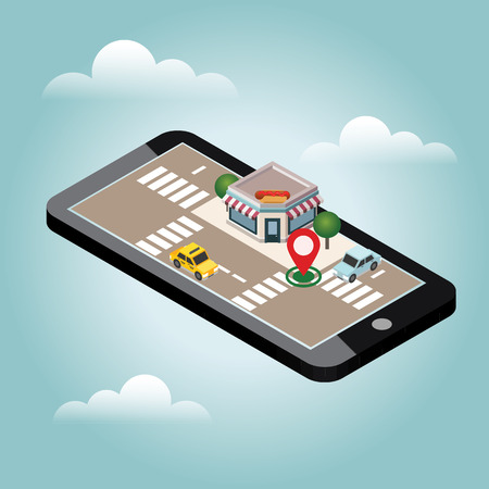 Illustration pour Isometric city. Fast food restaraunt, hot dog. Food delivering. Mobile searching. Geo tracking. Map - image libre de droit