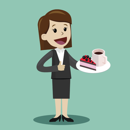 Illustration pour Businesswoman drinking coffee with a cake during the break - image libre de droit