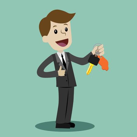 Illustration pour Car sale. Businessman or manager is holding a key of a new car. Happy, smile. Business concept cartoon illustration. - image libre de droit