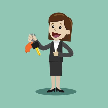 Illustration pour Car sale. Businesswoman or manager is holding a key of a new car. Happy, smile. Business concept cartoon illustration. - image libre de droit