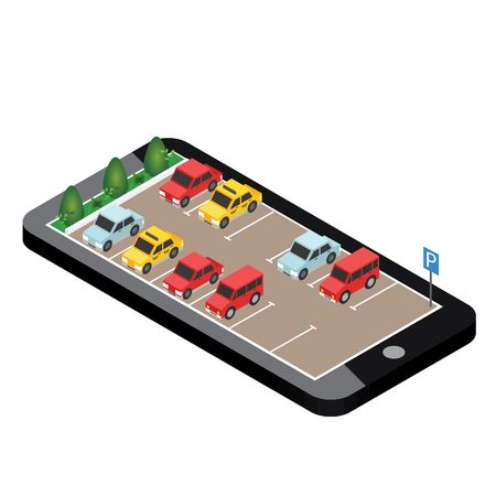 Illustration pour Isometric cars in the car parking. Mobile searching. Looking for parking. Flat 3d isometric urban city info-graphic concept. - image libre de droit