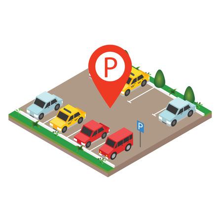 Illustration pour Isometric cars in the car parking. City parking vector web banner isometric flat vector style. Parking Sign. Flat 3d isometric urban city info-graphic concept. - image libre de droit