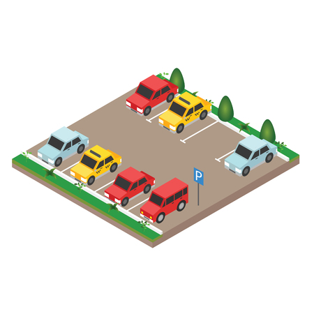 Illustration pour Isometric cars in the car parking. City parking vector web banner isometric flat vector style. - image libre de droit