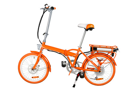 Photo pour Orange folding electric bike isolated on a white background with a full clipping path - image libre de droit