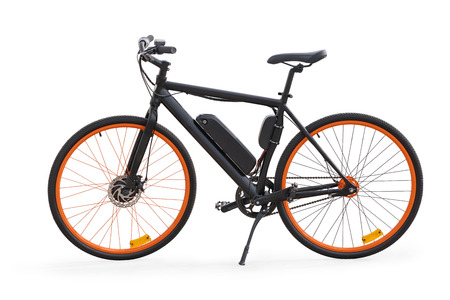 Photo for Black electric bike side view. Isolated on white, clipping path included - Royalty Free Image