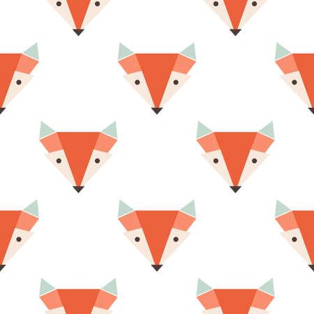 Illustration pour Cute foxes seamless vector pattern. Orange fox's head on white backgroun - image libre de droit