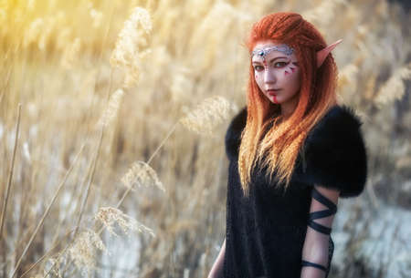 Photo for Elf women with fiery hair on nature. Beautiful young fantasy girl. Cosplay character - Royalty Free Image
