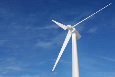 Foto de wind turbine blue sky 3D illustration - Imagen libre de derechos