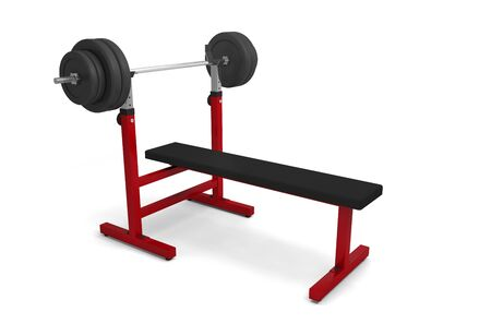 Photo pour gym bench with dumbbell barbell weight bodybuilding weightlifting 3D - image libre de droit