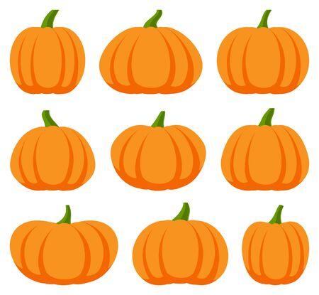 Illustration pour Cartoon halloween pumpkin set illustration. - image libre de droit