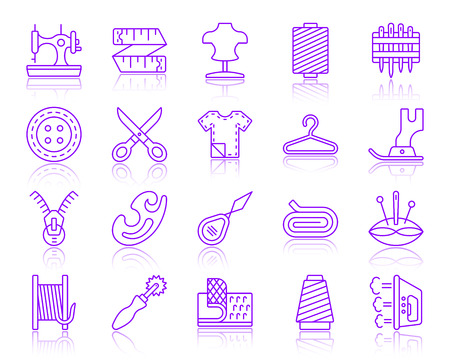 Ilustración de Sewing thin line icons set. Outline vector web sign kit of fashion. Embroidery linear icon collection includes sewing machine, foot, scissors. Simple sewing symbol with reflection isolated on white - Imagen libre de derechos