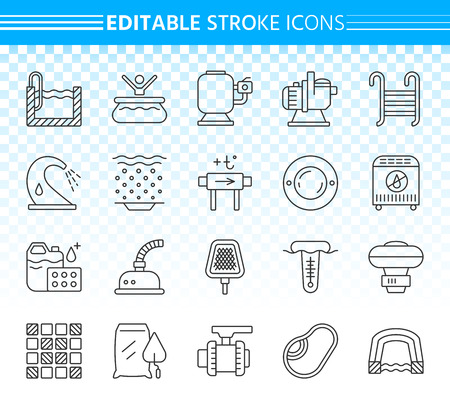 Ilustración de Swimming pool thin line icons set. Outline sign kit of spares. Repair equipment linear icon collection includes filter, pump, chemical dosing. Editable stroke without fill. Pool simple vector symbol - Imagen libre de derechos