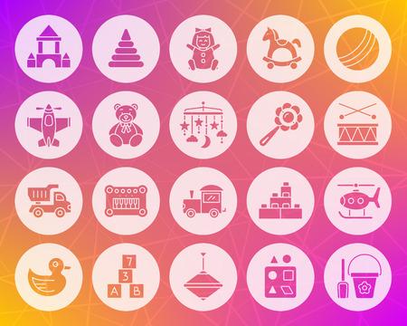 Ilustración de Baby toy icons set. Web sign kit of children play. - Imagen libre de derechos