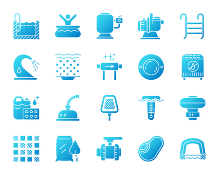 Ilustración de Swimming pool equipment icons set. Isolated sign kit of construction. Repair pictogram collection includes chemical dosing, valve, pavilion. Simple contour symbol of pool accessories vector icon - Imagen libre de derechos