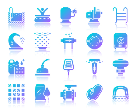 Ilustración de Swimming pool equipment silhouette icons set with reflection. Sign kit of construction. Repair vector pictogram collection includes bowl, filter, pump. Gradient simple pool accessories icon isolated - Imagen libre de derechos