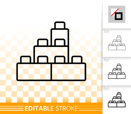 Illustration for Building Block thin line icon. Outline sign of lego brick. Constructor linear pictogram with different stroke width. Simple vector transparent symbol. Kids plaything editable stroke icon without fill - Royalty Free Image