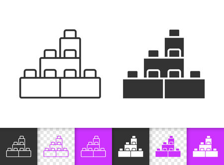 Ilustración de Building Block black linear and silhouette icons. Thin line sign of lego brick. Constructor outline pictogram isolated on white, transparent background. Vector Icon of kids game simple symbol closeup - Imagen libre de derechos