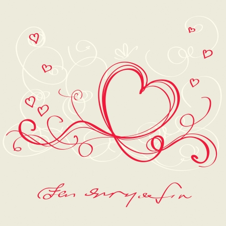 Heart red ribbon. Valentine`s day card