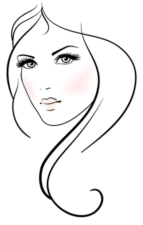 Illustration pour Beautiful young woman with long blond hair - image libre de droit