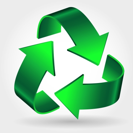 Illustration for Recycle Symbol Icon, Green Arrows Sign Isolated On White - Royalty Free Image