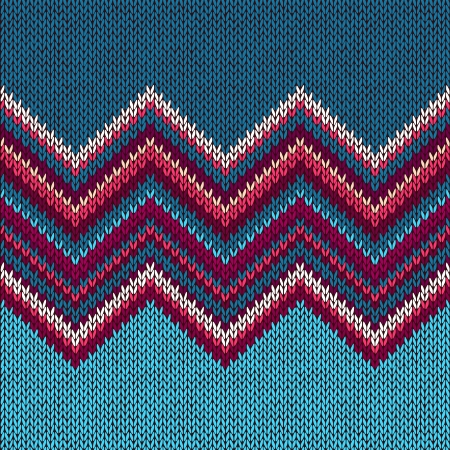 Illustration pour Knitted Seamless Fabric Pattern, Beautiful Blue Red Pink Knit Texture - image libre de droit