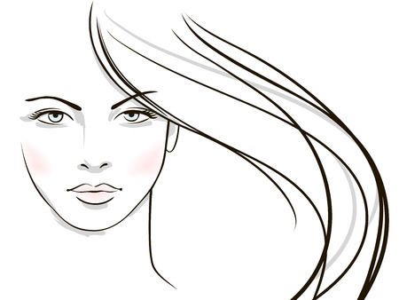 Illustration for Young woman face with long blond hair  - Royalty Free Image