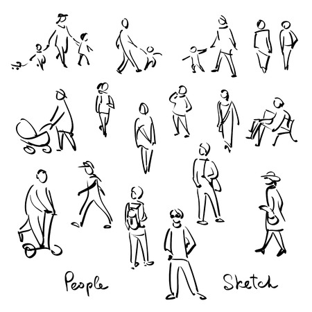 Photo pour Casual People Sketch. Outline hand drawing vector Illustration - image libre de droit