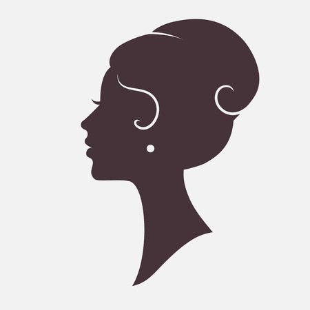 Ilustración de Girl Face Silhouette with Stylish Hairstyle - Imagen libre de derechos