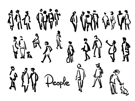 Ilustración de Casual People Sketch. Outline hand drawing illustration - Imagen libre de derechos
