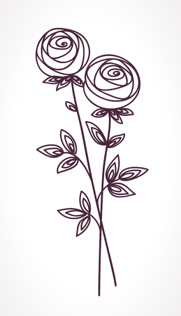 Illustration for Roses. Stylized flower bouquet hand drawing. Outline icon symbol. Present for wedding, birthday invitation card - Royalty Free Image
