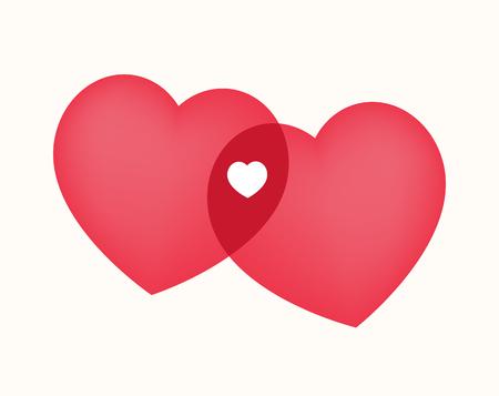 Illustration pour Hearts connection gives rise to a new life. Heart shape silhouettes. - image libre de droit