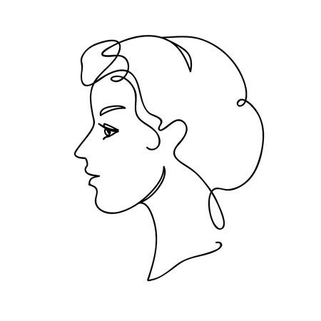 Illustrazione per Face Silhouette vector illustration. Young attractive girl. Continuous drawing. Line art concept design. - Immagini Royalty Free